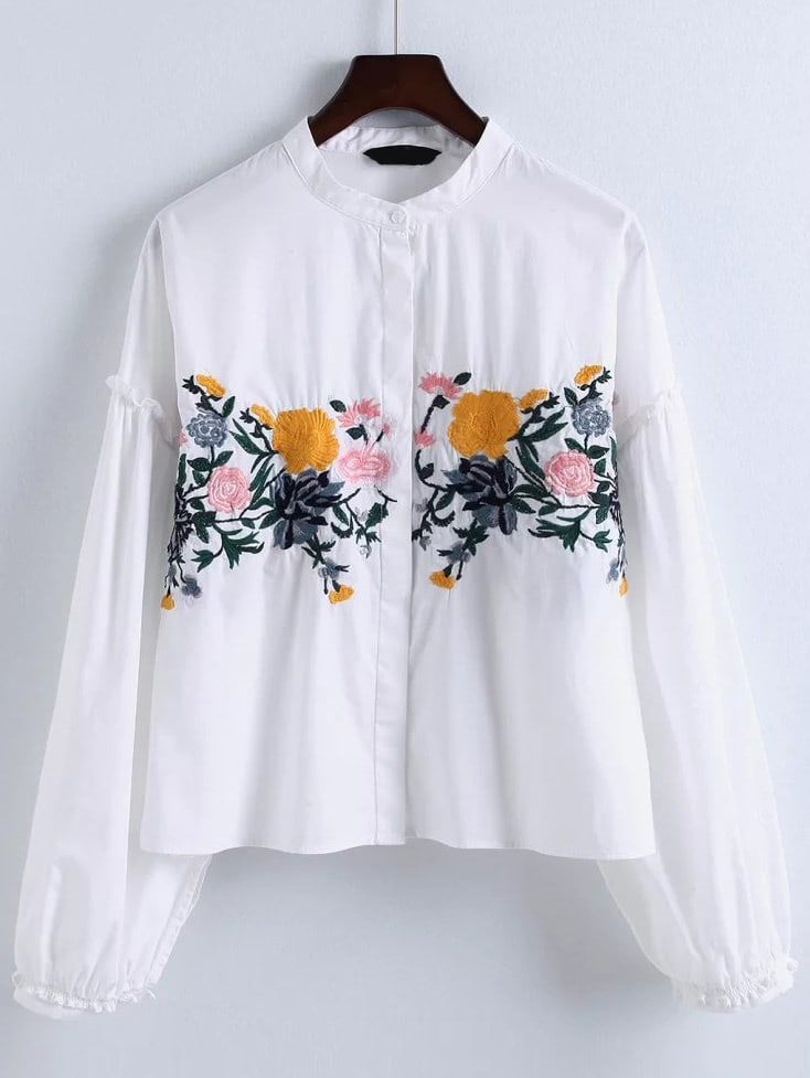 Flower embroidery ruffle trim blouse shein sheinside