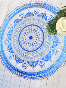 Blue Tribal Print Pom Pom Trim Round Beach Blanket