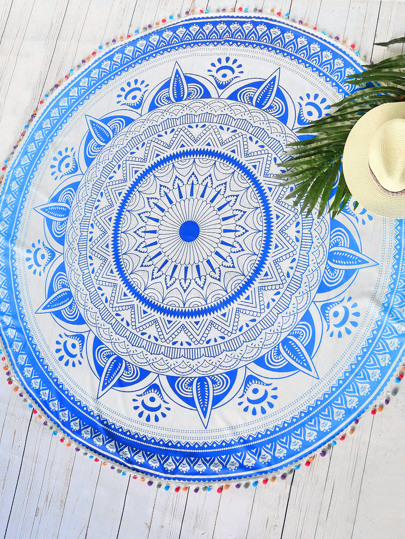 Tribal Print Pom Pom Trim Round Beach Blanket