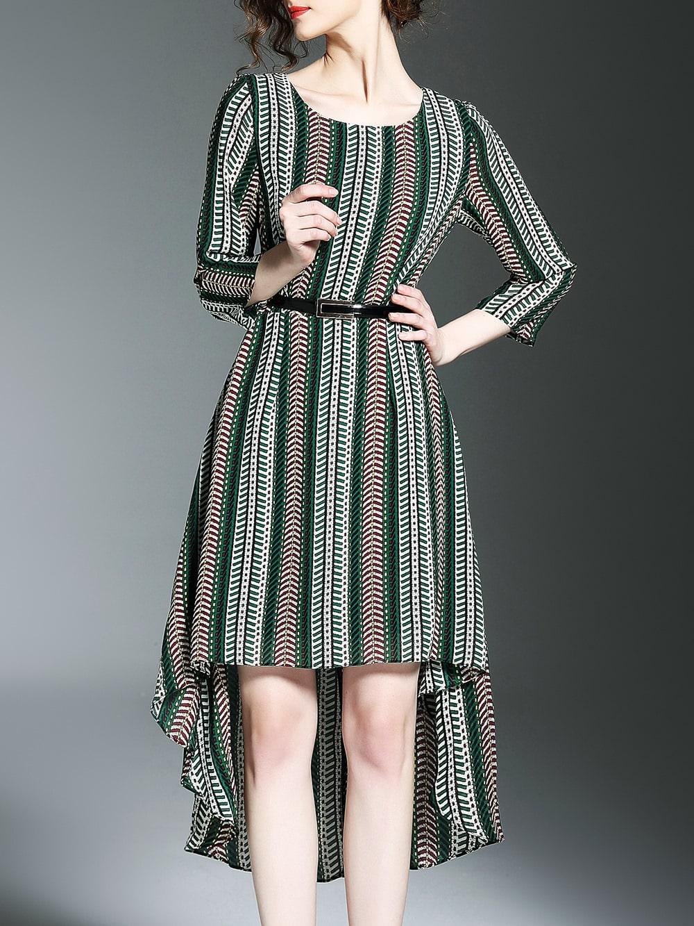 Фото Multicolor Belted Print High Low Dress. Купить с доставкой