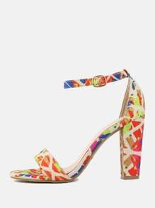 Geometric Printed Chunky Heels ORANGE
