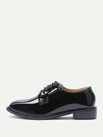 Black Patent Leather Lace Up Shoes