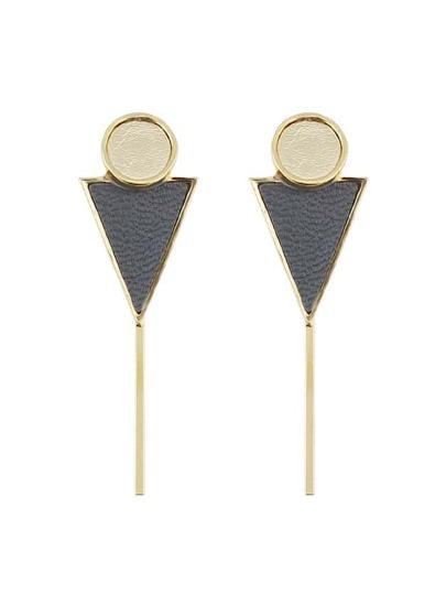 Gray Color Triangle Shape Pu Leather Hanging Stud Earrings