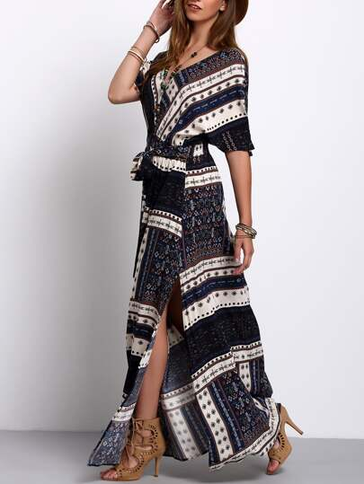 Split Side Tie-Waist Vintage Print Maxi Dress