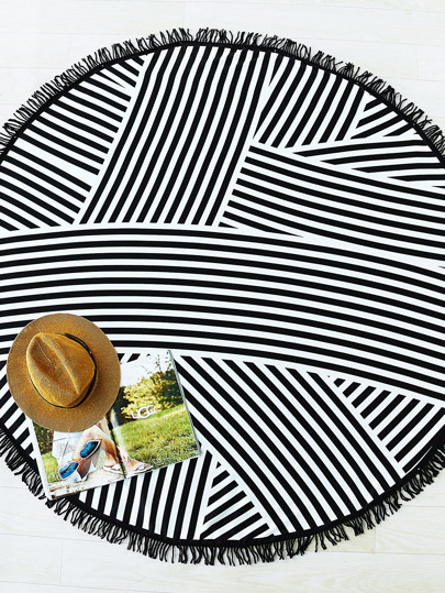 Striped Print Fringe Detail Round Beach Blanket