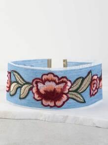 Embroidered Floral Denim Choker DENIM