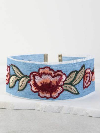 Embroidered Floral Denim Choker DENIM
