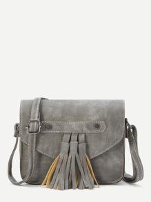grey faux cuir tassel trim flap sac