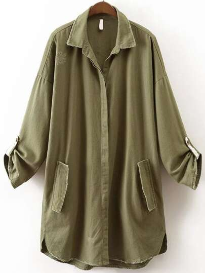 Army Green Letter Print Frayed Detail Coat