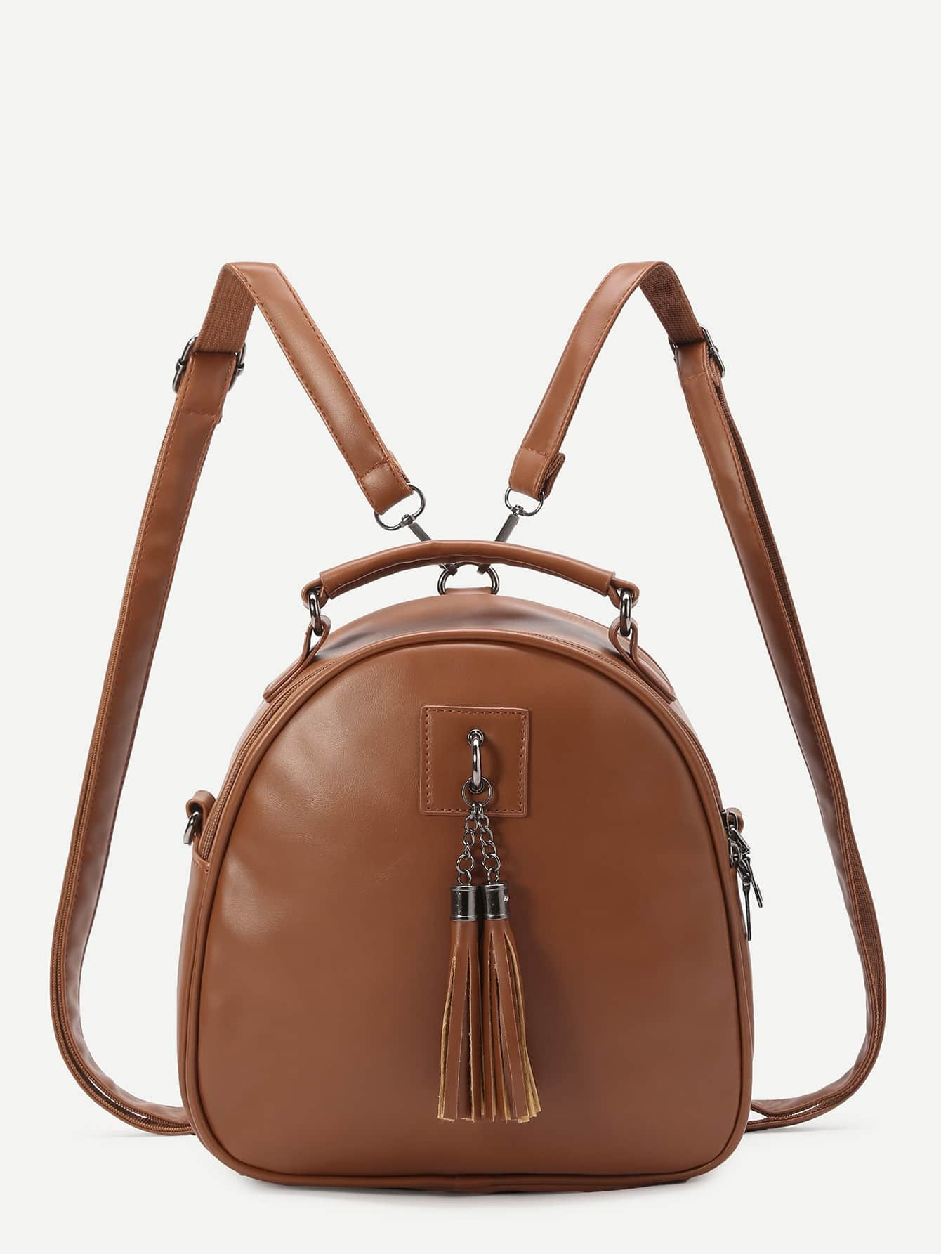 Фото Brown Faux Leather Tassel Embellished Mini Dome Backpack. Купить с доставкой