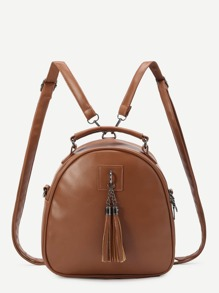 Brown Faux Leather Tassel Embellished Mini Dome Backpack