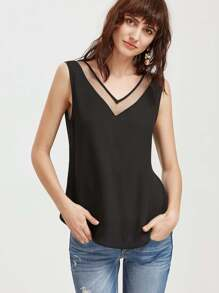 Mesh Double V Neck Tank Top