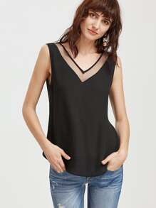 Top con doble cuello en V de malla - negro