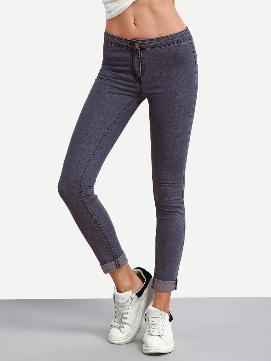Low Rise Roll Hem Skinny Jeans
