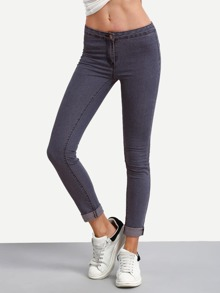 Low Rise Roll Hem Skinny Jeans