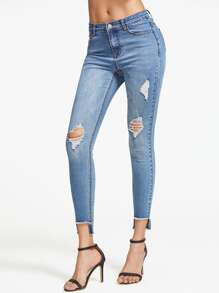 Bleach Wash Ripped Staggered Hem Skinny Jeans