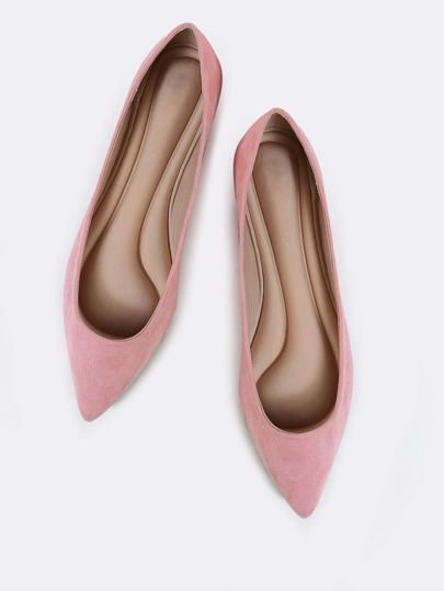 Imitation Suede Pointy Flats PINK