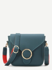 Teal Ring Detail PU Shoulder Bag