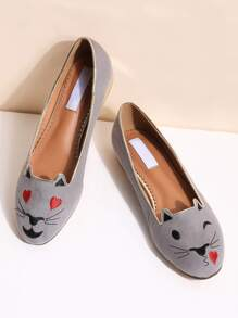 grey cat broderies des ballerines