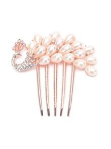 Forma Pavone perla e strass pettine tornante