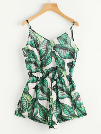 Green Tropical Print Elastic Waist Cami Romper
