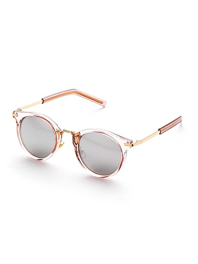Clear Frame Flat Lens Round Sunglasses