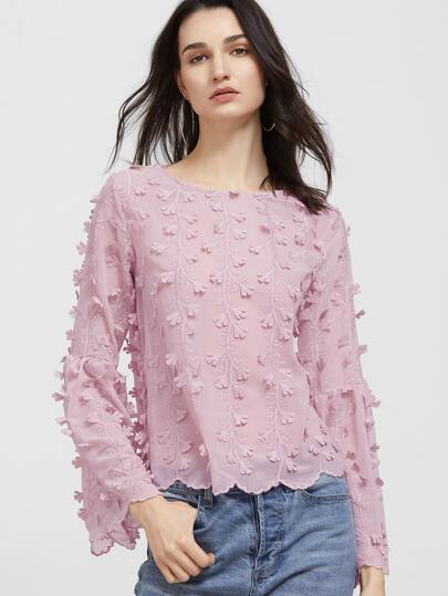 Embroidered Lace Up Back Scallop Hem Blouse
