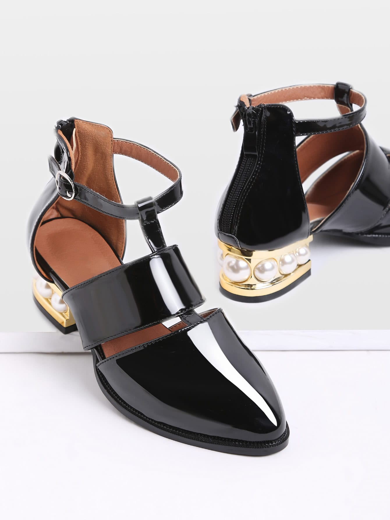 Black Pearl Design Back Zipper Patent Leather Shoes bacia women shoes black patent leather ladies high heels shoes with bowknot thick heel pumps genuine leather lady shoes sb075