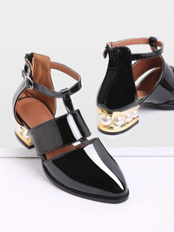 Black Pearl Design Back Zipper Patent Leather Shoes, null