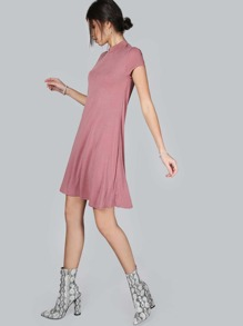 Mock Neck T-Shirt Dress ROSE
