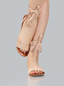 Imitation Suede Wrap Sandals NATURAL