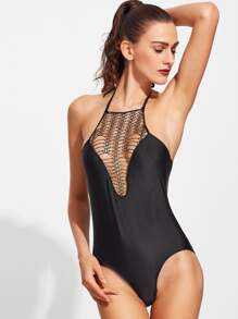Black Hollow Out Detail Halter One-piece Swimwear
