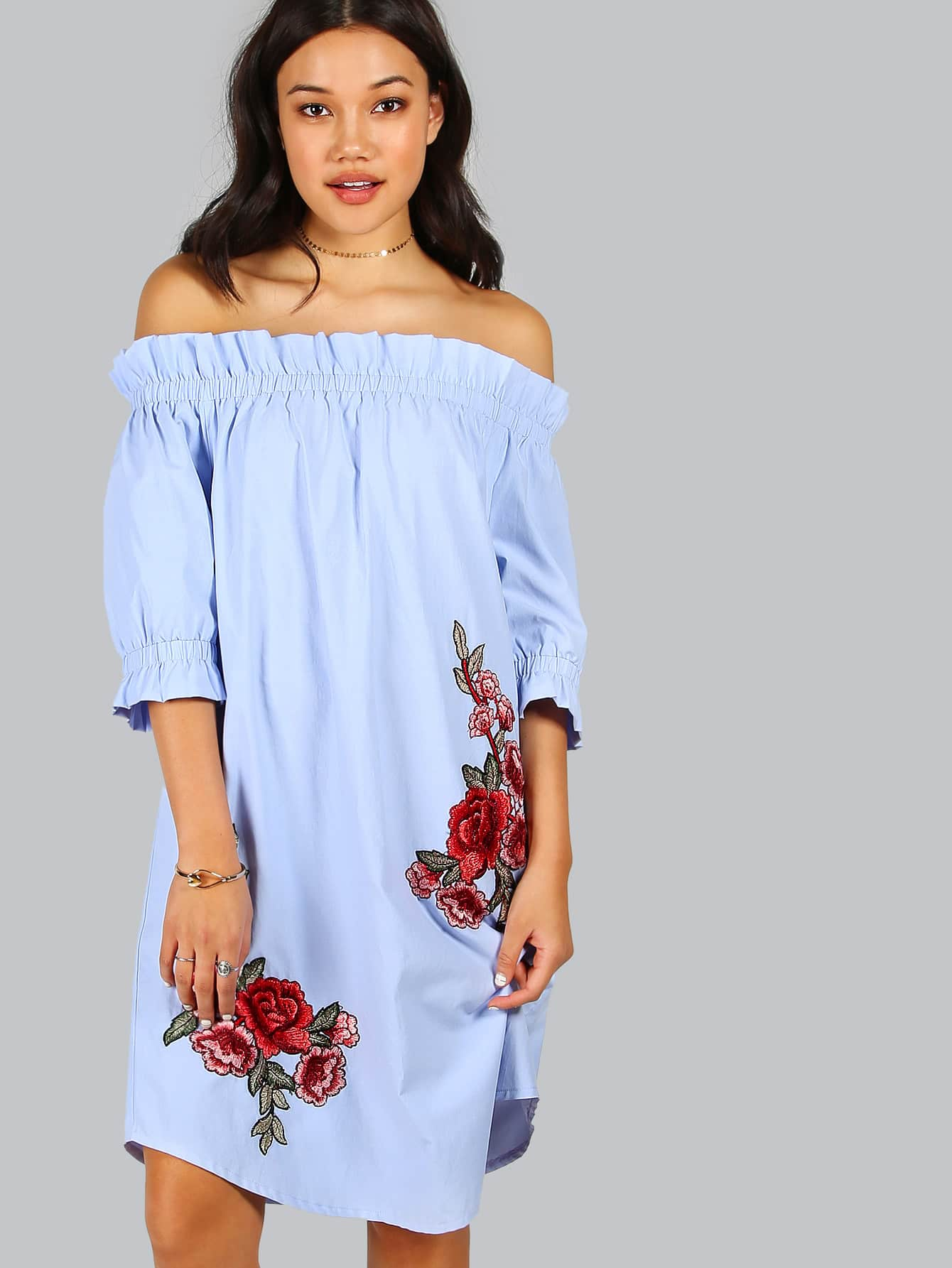 Off Shoulder Rose Patch Detail Dress pearl detail frill off shoulder dress