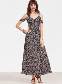 Paisley Print Drape Cold Shoulder Dress