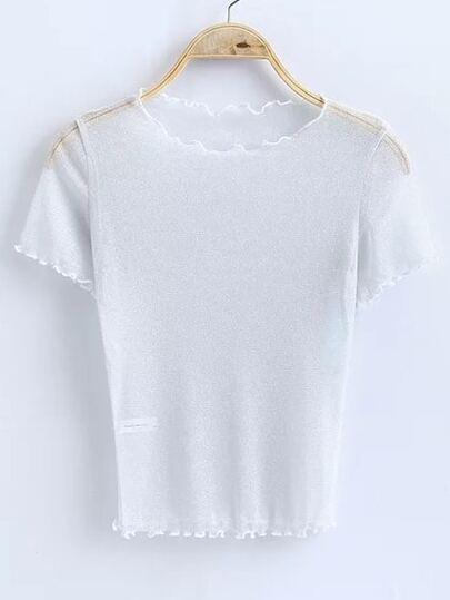 White Short Sleeve Sheer Top