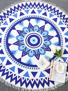 Blue Geometric Print Fringe Trim Round Beach Blanket