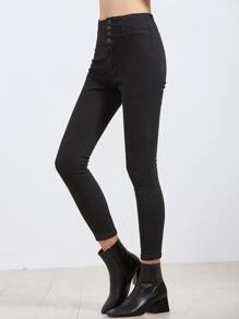 Buttoned Fly Cropped Skinny Jeans