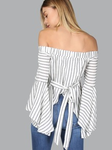 Bardot Fluted Sleeve Self Tie Back Blouse BLACK MULTI