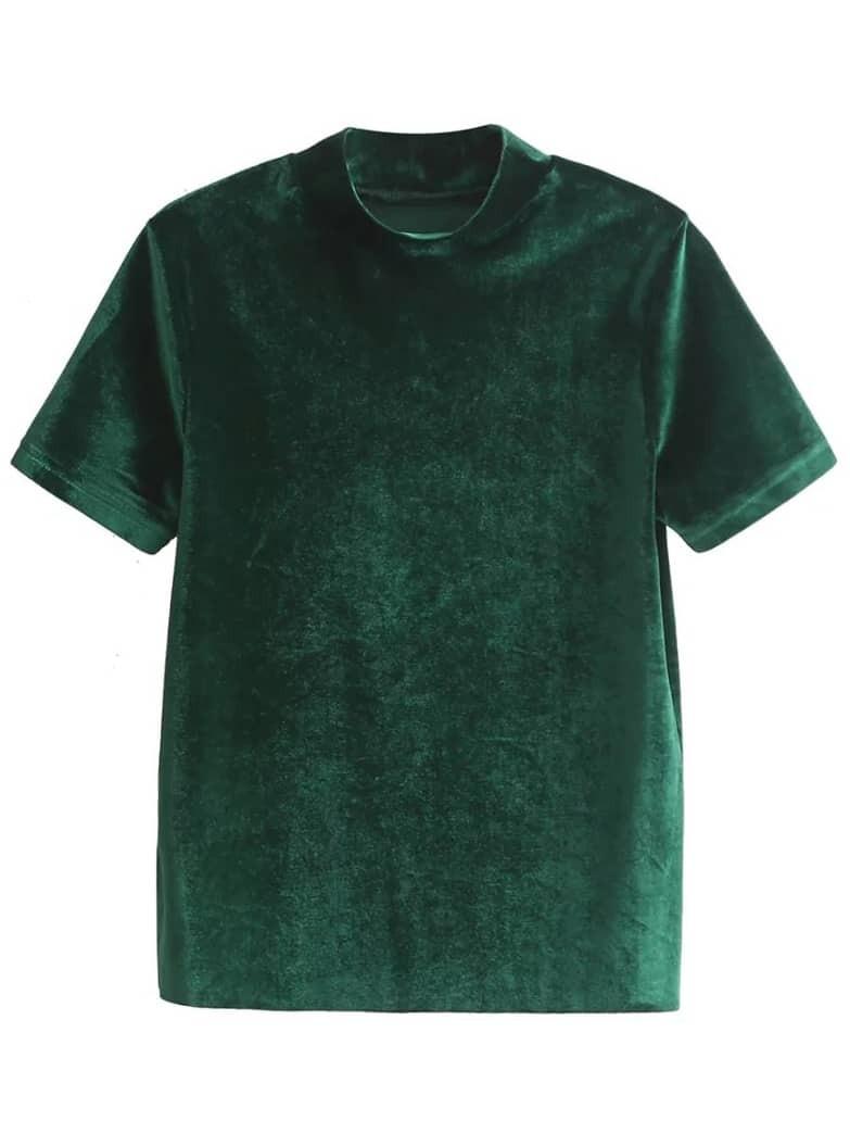 Dark green mock neck velvet t shirt shein sheinside for Mock crew neck shirts