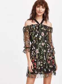Cold Shoulder Flower Embroidered Mesh Dress