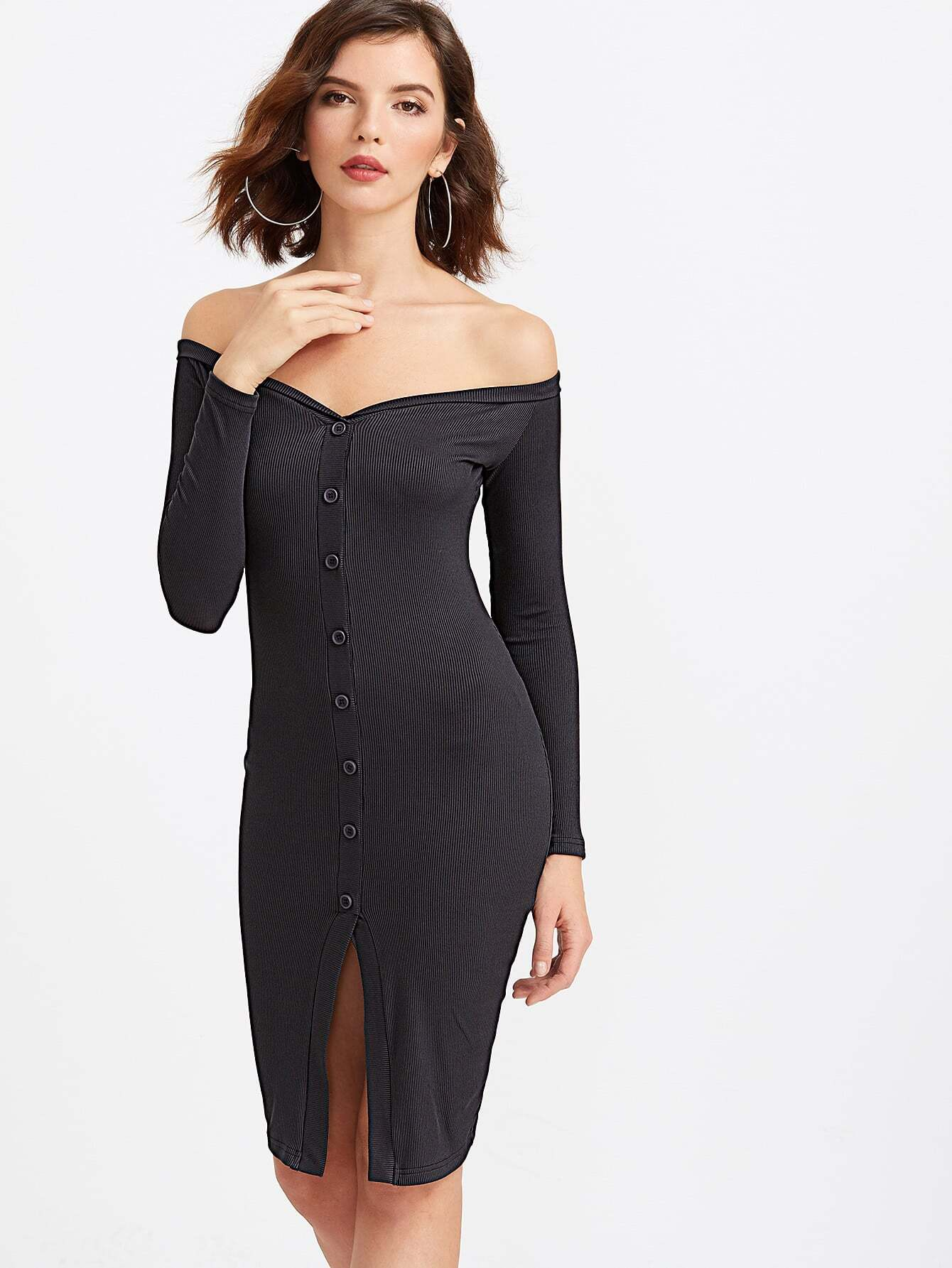 Black Off The Shoulder Button Front Ribbed Bodycon Dress