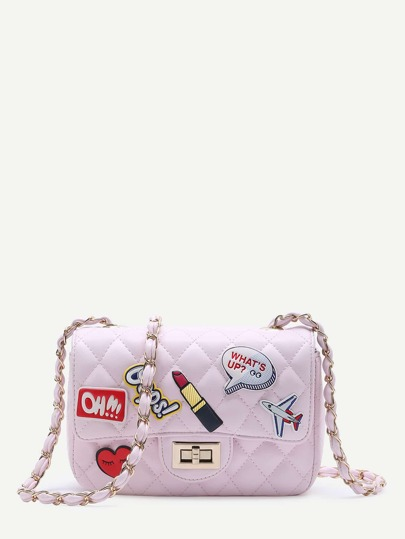 Pink Patch Design PU Shoulder Bag