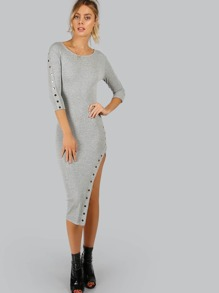 Button Embroided Quarter Sleeve Dress GREY