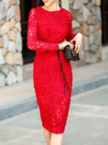 Red Flowers Applique Tie-Waist Lace Dress