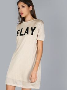 Metallic Slay T-Shirt Dress GOLD
