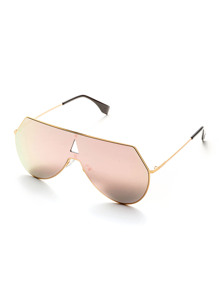 Pink Lens Triangle Cutout Detail Sunglasses