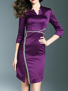 Purple V Neck Beading Split Dress