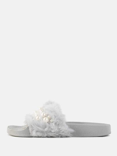 Faux Fur Pearl Slide Sandals GRAY
