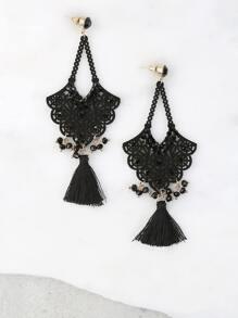 Bejeweled Crochet Drop Earrings BLACK