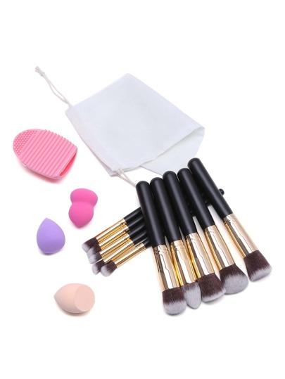 14Pcs Black Makeup Tool Set With Bag